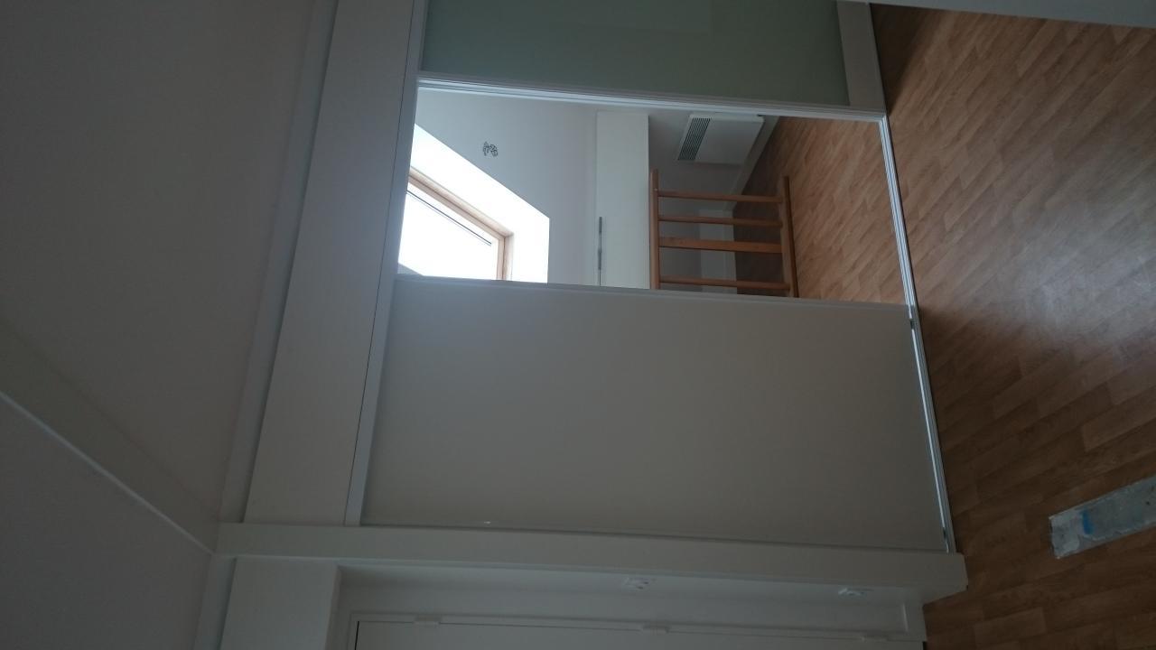 façade coulissante avec verre opalin pour passage lumière
